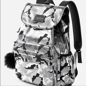 Large Justice shiny camouflage backpack
